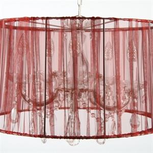 Afbeelding van Draadkap organza rood 60 cm.