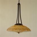 Afbeelding van Fabbro hanglamp 1 lichts roest met greca glas 50 cm